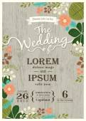 Fotografie Vintage wedding invitation card with cute flourish background