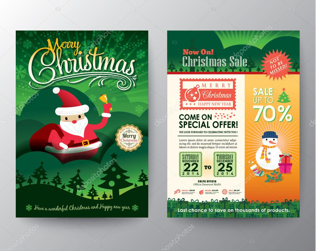 christmas sale brochure flyer design layout vector template stock