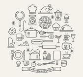 Fényképek Főzés élelmiszerek és konyhai ikonok beállítása