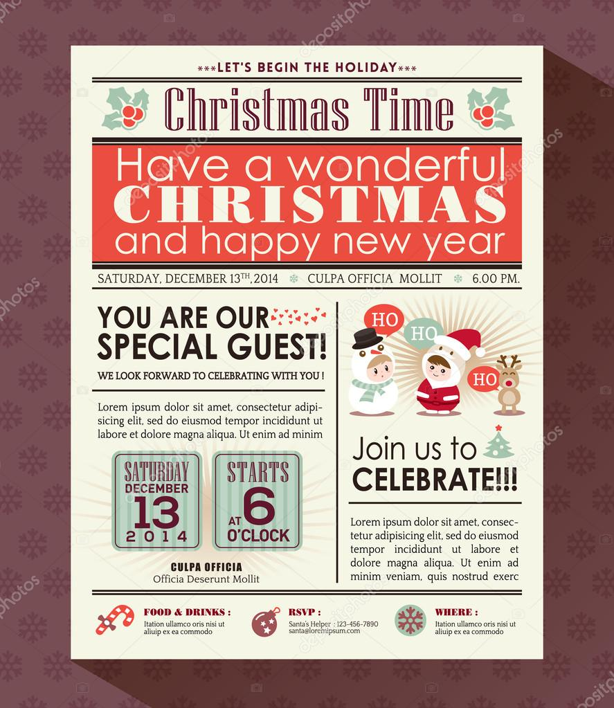 Christmas party poster invite background in newspaper ...