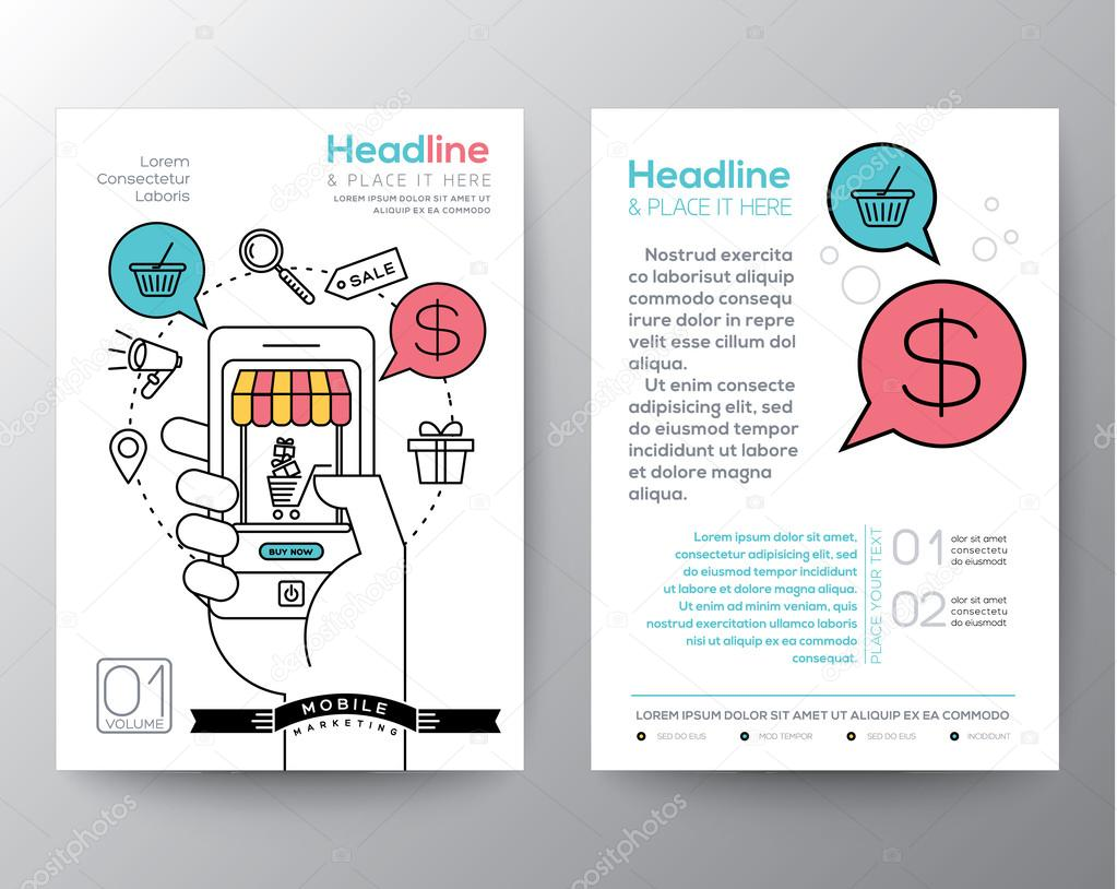 brochure flyer design layout template with digital marketing concept