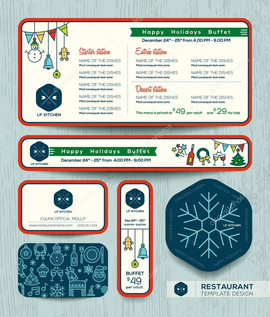 Christmas party restaurant menu set template — Stock Vector ...
