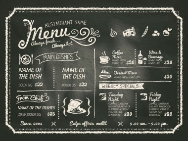 Restaurant Food Menu Design with Chalkboard Background stock vector