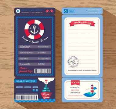 Cruise Ship Boarding Pass Ticket Wedding Invitation Template Vec