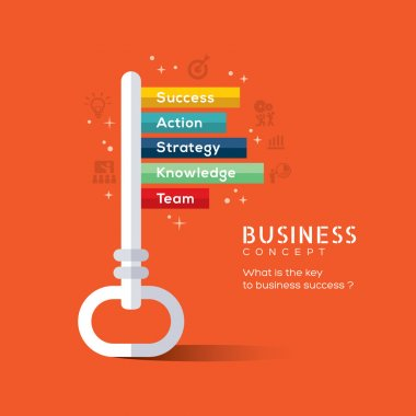 Key to success flat design concept illustration