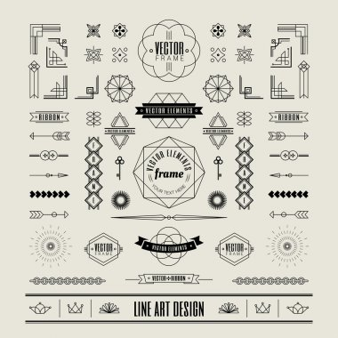 Set of linear thin line art deco retro vintage design elements w