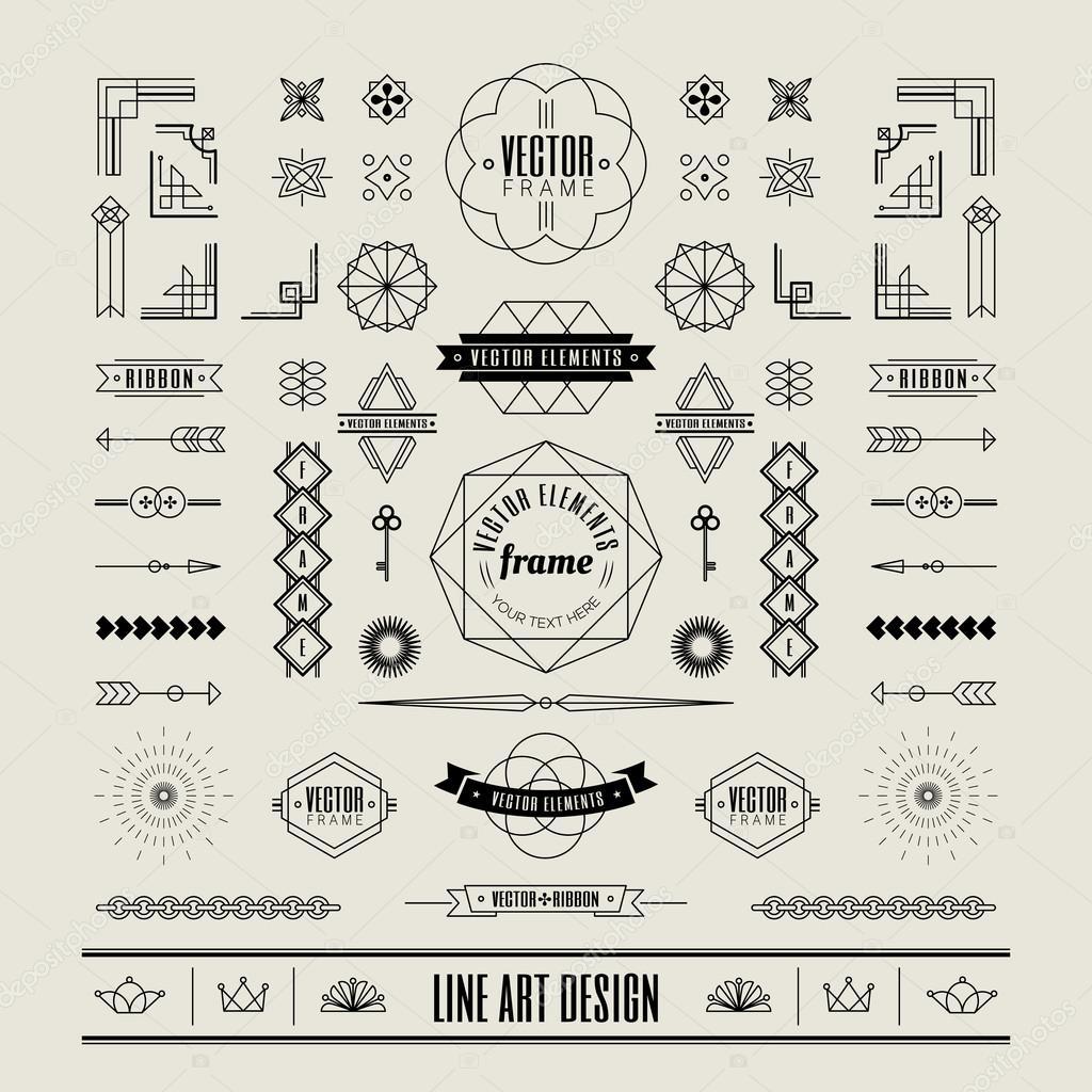 Set of linear thin line art deco retro vintage design elements w