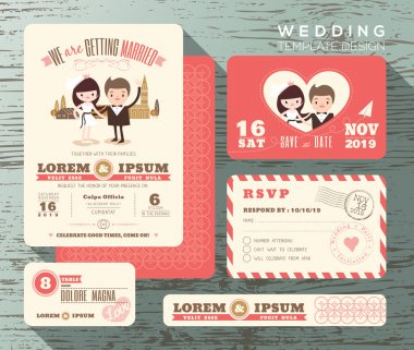 Cute groom and bride couple wedding invitation set design Templa