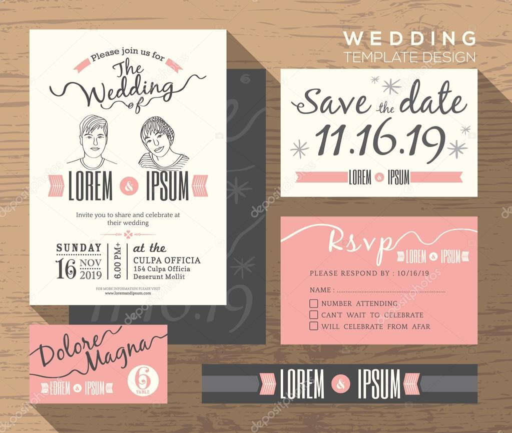 Modern wedding invitation set design Template — Stock Vector ...