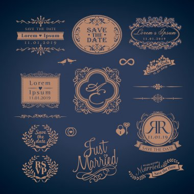 Vintage Style Wedding Monogram border and frames