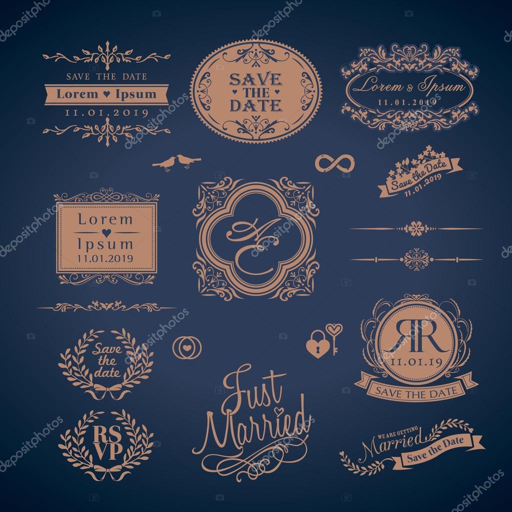 Vintage estilo boda monograma frontera y marcos — Vector de stock ...