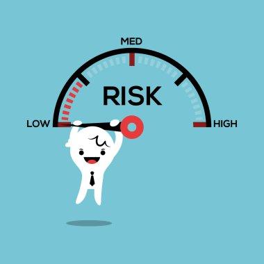 Business man hanging on needle speed gauge risk management conceptual illustration