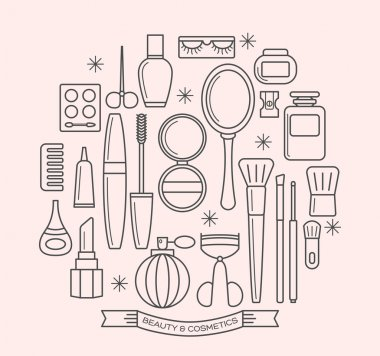 beauty and cosmetics thin line outline icons set