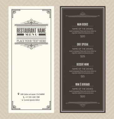 Restaurant or cafe menu design template with vintage retro art deco frame