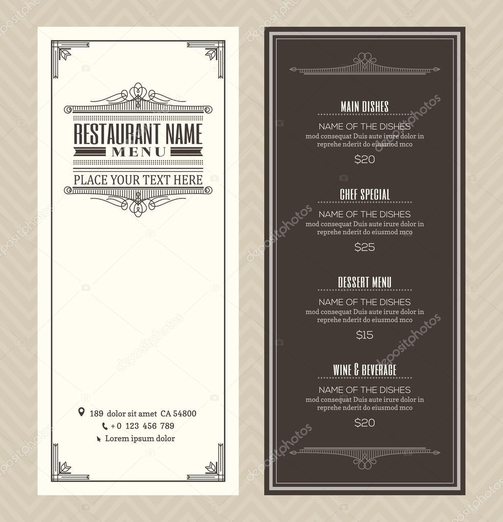 Plantilla de diseño de menú restaurante o cafetería con marco ...