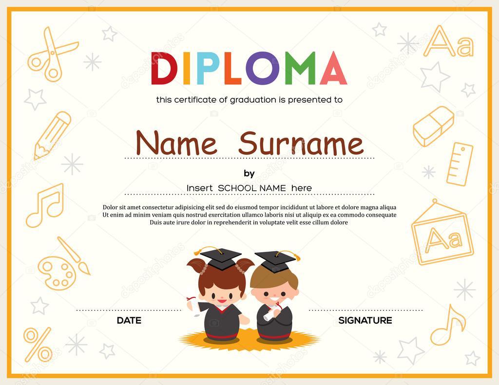 plantilla de diseño de certificado de diploma de preescolar niños ...