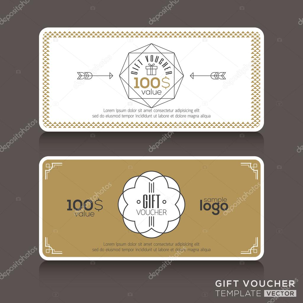Gift certificate voucher coupon template stock vector kraphix gift certificate voucher coupon template with line art hipster design vector by kraphix yadclub Image collections