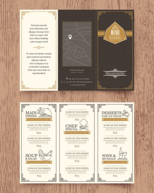 Vintage Restaurant menu design pamphlet template