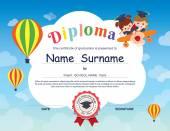 Preschool Elementary school Kids Diploma certificate background