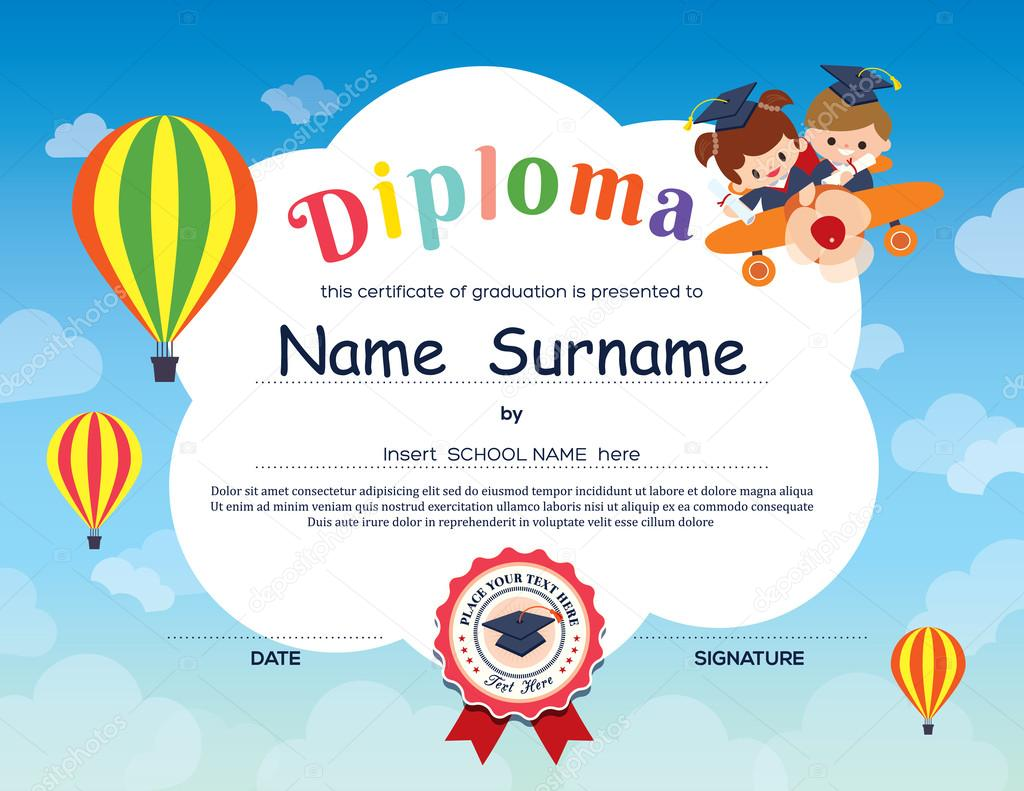 Preschool elementary school kids diploma certificate background preschool elementary school kids diploma certificate background stock vector 77603352 xflitez Images