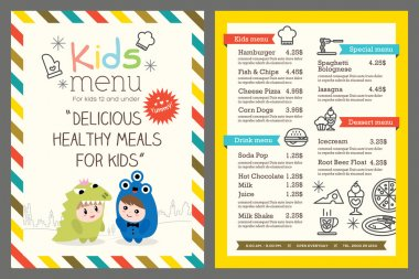 kids menu vector template