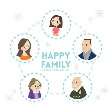 big happy family portrait cartoon illustration