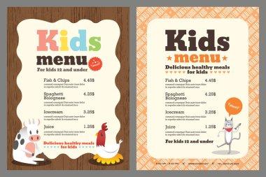 Kids meal menu vector template