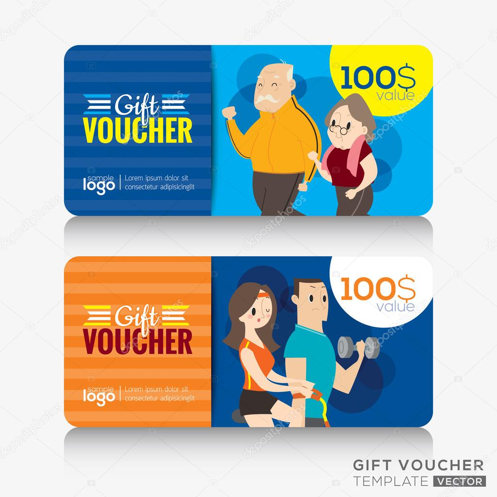 Fitness center gym coupon voucher or gift card design template ...