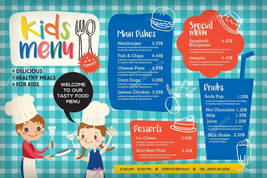 Cute Colorful Kids Meal Menu Template Stock Vector Kraphix 91225598