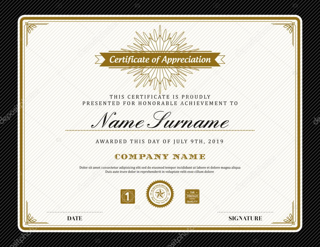 vintage retro art deco frame certificate background template stock
