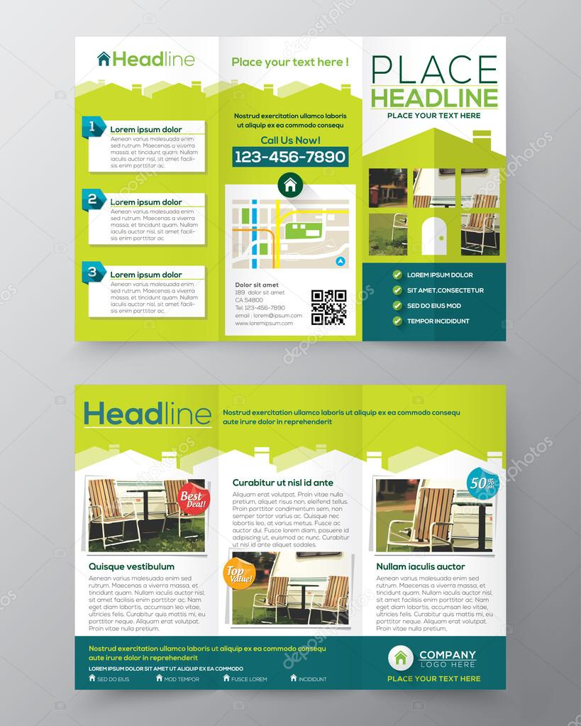 real estate brochure flyer design vector template in a4 size tri