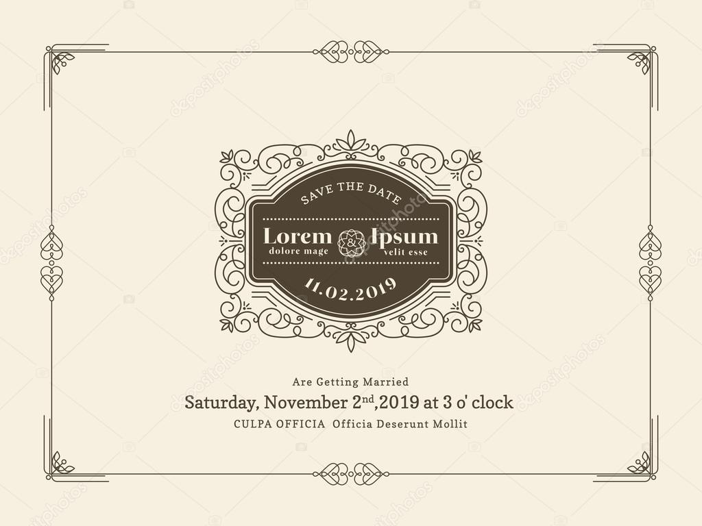 Vintage Wedding invitation card border and frame template — Stock ...
