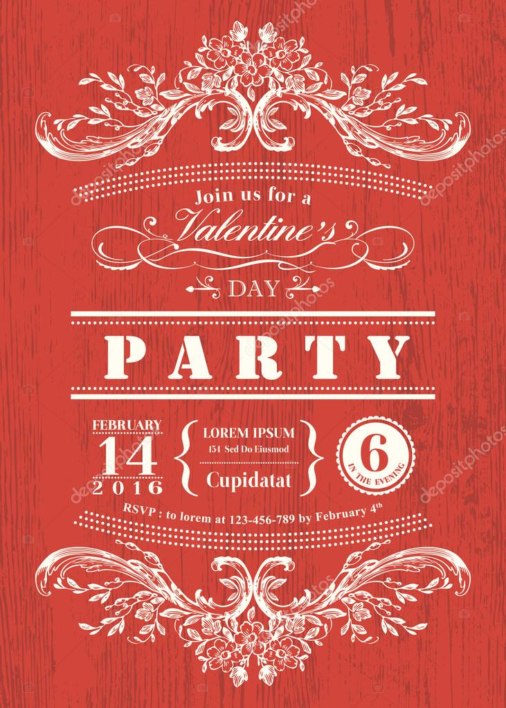 Valentine day card party invitation with vintage frame on red ...