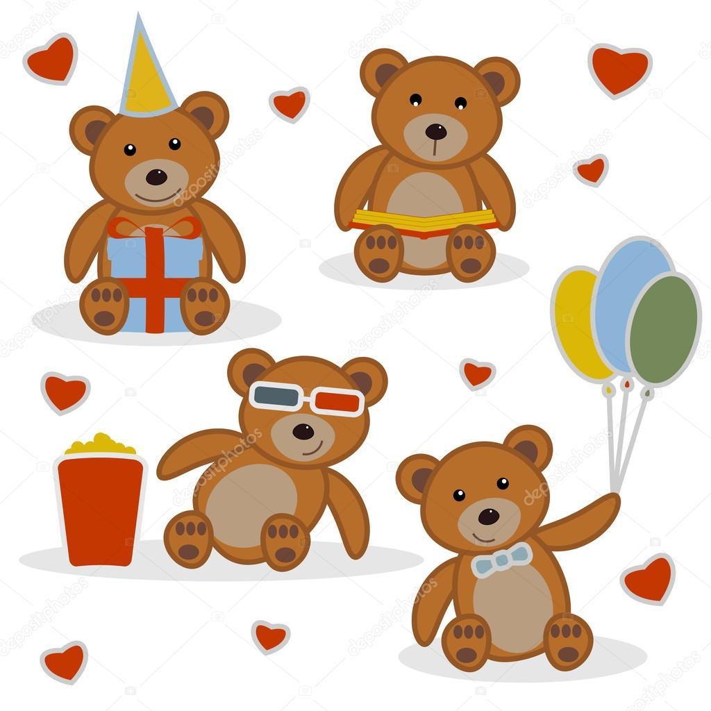 quatro filhotes de urso engraçado dos desenhos animados vetores de