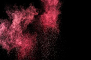 Abstract pink paint Holi. Abstract pink powder explosion on black background. stock vector