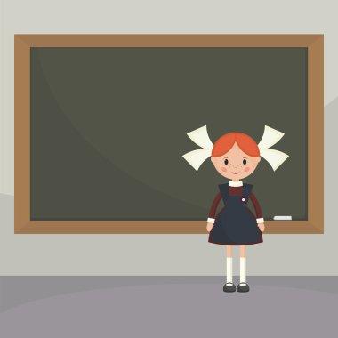 Schoolgirl  near the school board.