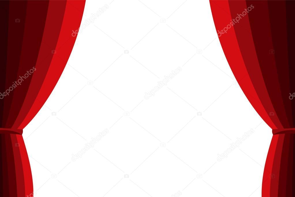 Kino Vorhang Minimalist : Roter vorhang auf einem weißen hintergrund geöffnet u stockvektor