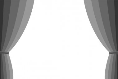 Grey curtain opened on a white background.