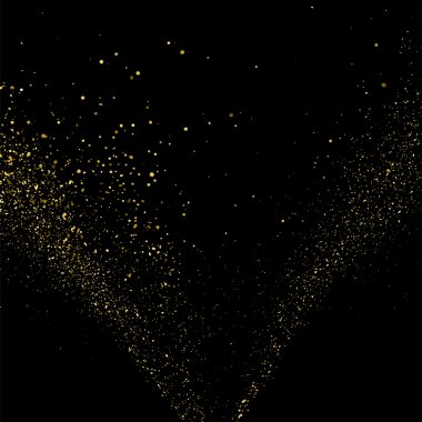Gold glitter texture on a black background. Golden explosion of confetti. Golden grainy abstract  texture on a black  background. Design element. Vector illustration,eps 10. clip art vector