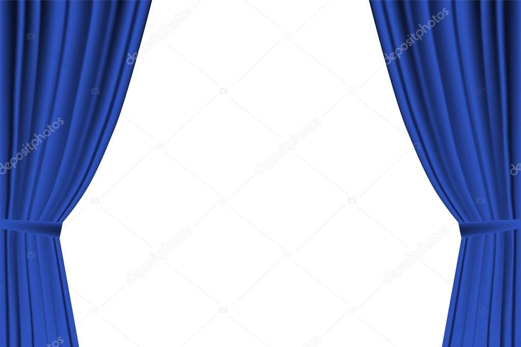 Kino Vorhang Minimalist : Blauer vorhang geöffnet auf weißem hintergrund u stockvektor