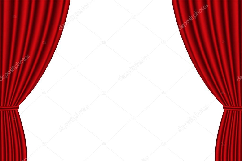 Rideau rouge ouvert sur fond blanc — Image vectorielle sergio34 ...