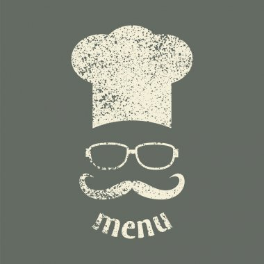 Hipster chef  hat with mustache and glasses. Vintage style.