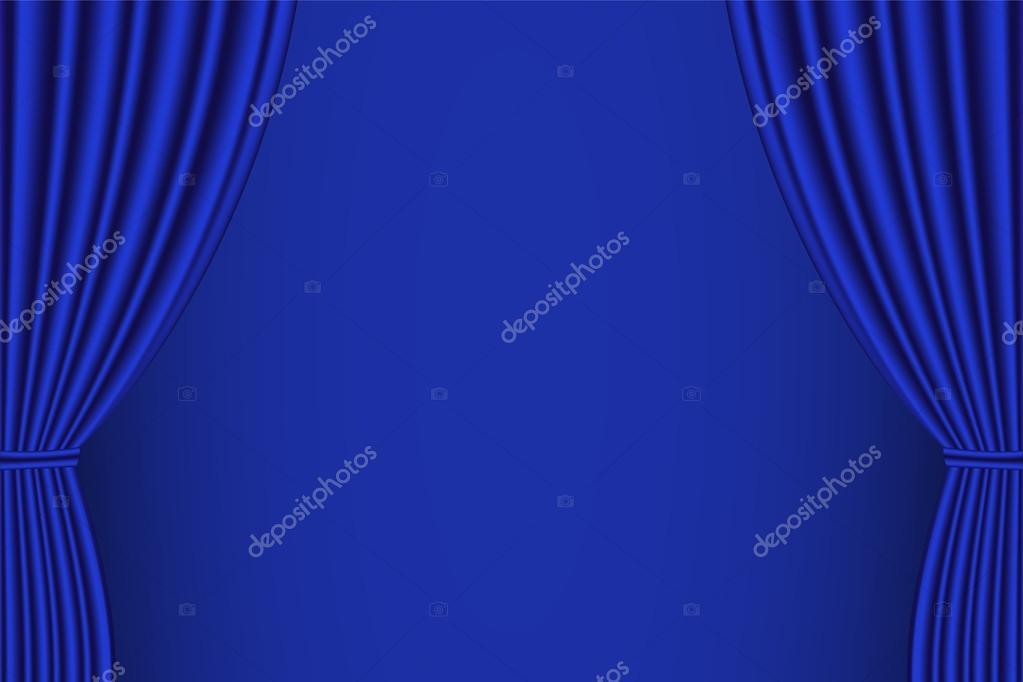 Kino Vorhang Minimalist : Blauer vorhang geöffnet u stockvektor sergio