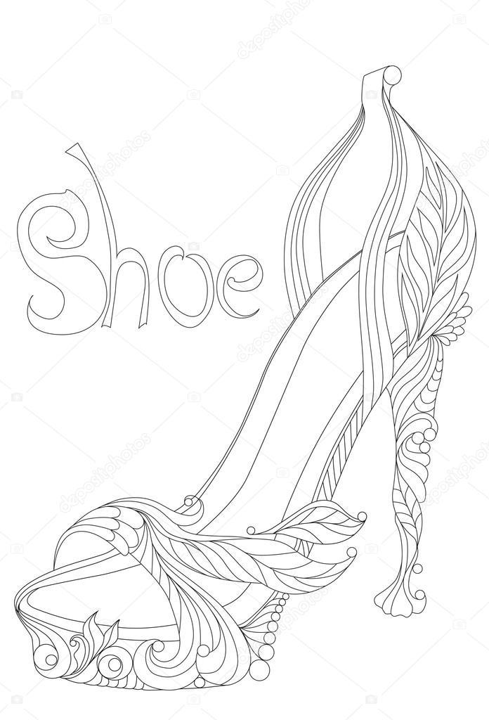 Ayakkabı Yetişkinler Için Boyama Kitapları Stok Vektör Lgrape