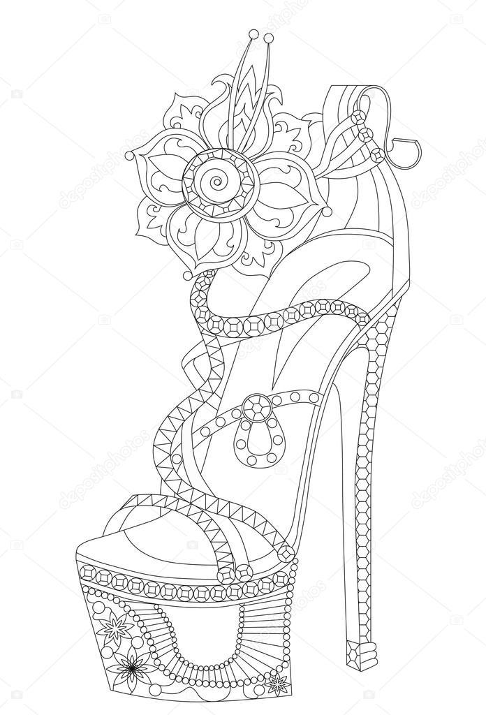 Zapatos con flores. Libros para colorear para adultos — Archivo ...