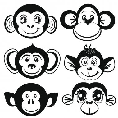 Funny differently monkey. Face of monkeys. Silhouettes