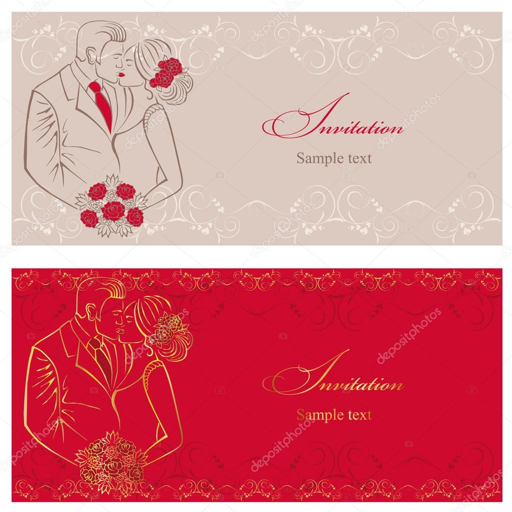Newlyweds. Couple with wedding bouquet. Wedding invitation. — Stock ...