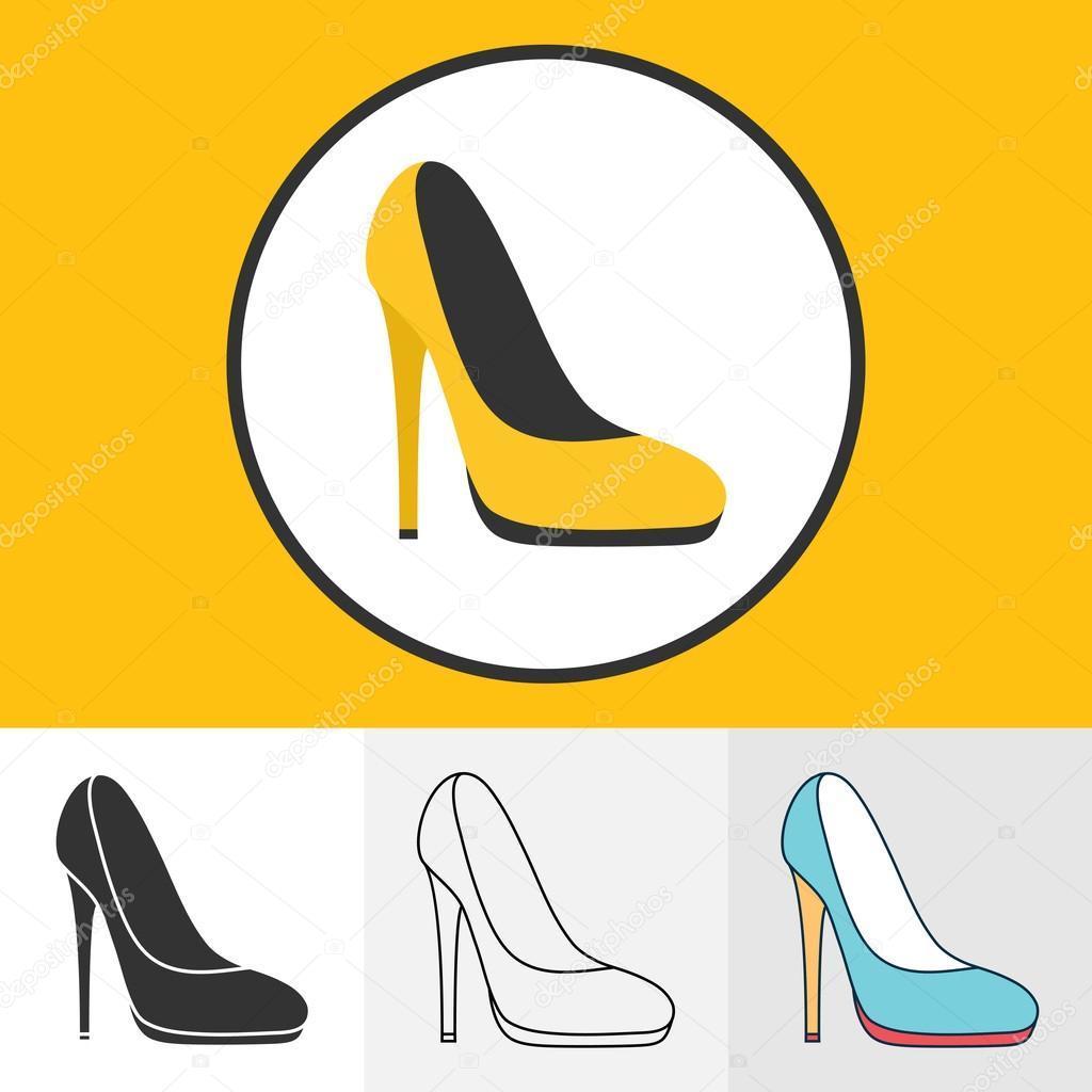 41f0a49d7cc42 Insieme dell illustrazione delle icone di scarpe col tacco alto per il  vostro disegno — Vettoriali di Lawkeeper