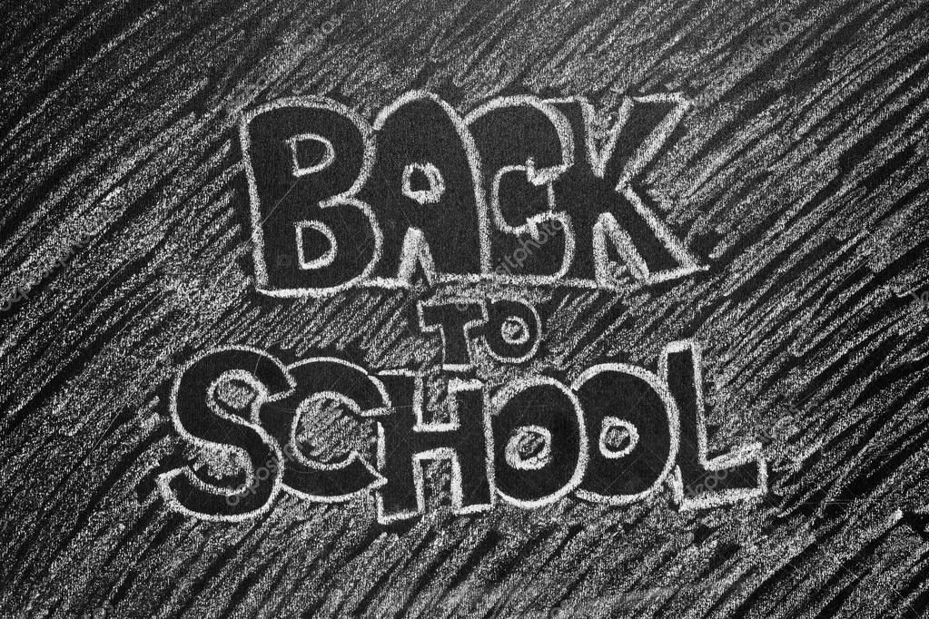 Voltar à Frase De Escola Escrito No Quadro Negro Stock Photo