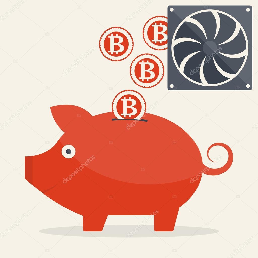 Piggy bank with mining bitcoins